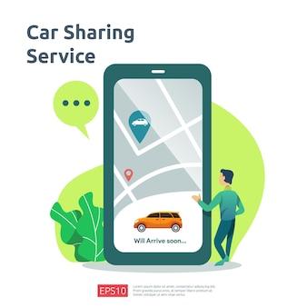 Carsharing-illustrationskonzept. online-taxi oder mieten sie einen transport mit der smartphone-service-anwendung mit charakter- und routenpunktposition auf der gps-karte für landingpage, banner, web, ui, flyer