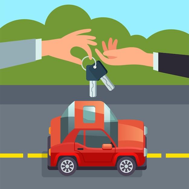 Carsharing-konzept hand geben autoschlüssel