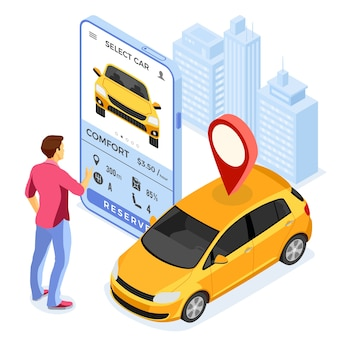 Carsharing-service-konzept mit mann wählt auto online