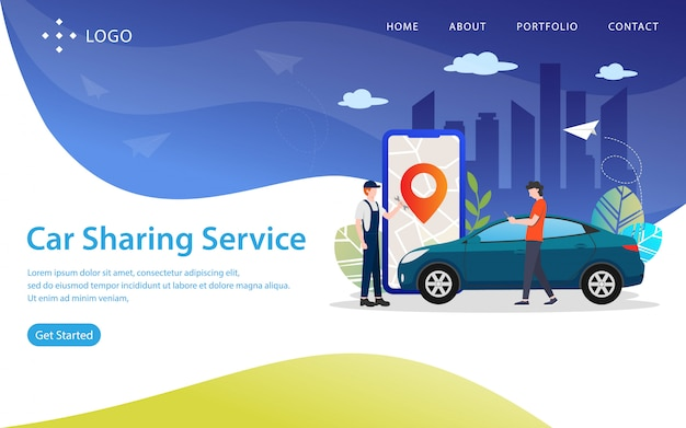 Carsharing-service, websitevektorillustration