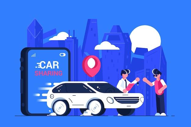 Carsharing-service werbung. mobiler stadtverkehr. transportmiete.