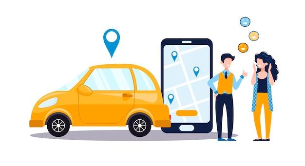 Carsharing-servicekonzept mit positiver frau und mann, telefon mit app, gelbes auto. online-karte und autovermietung, gps, mobile anwendung. flache illustration des vektors lokalisiert auf weißem hintergrund.