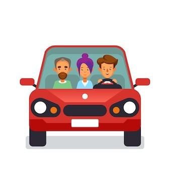 Carsharing-symbol mit flachen zeichen