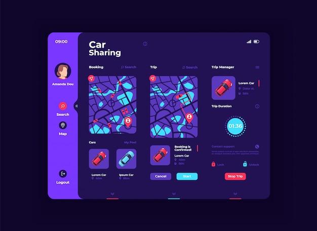 Carsharing tablet schnittstelle vektor vorlage