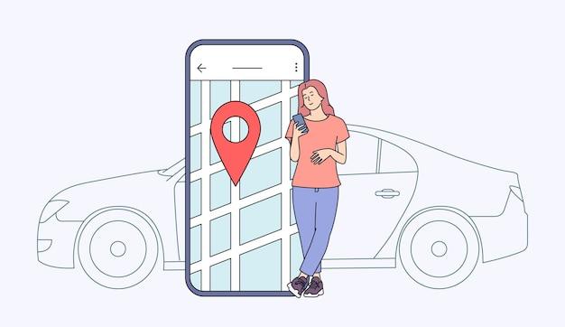Carsharing und online-bewerbungskonzept. junge frau nahe smartphone-bildschirm mit route und standortpunkt auf einem stadtplan mit auto