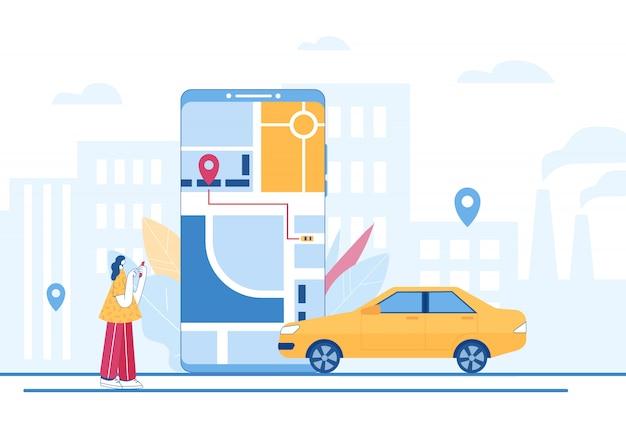 Carsharing und online-taxi-service-konzept. mobile anwendung zum mieten eines autos und zum anrufen eines taxis. illustration.