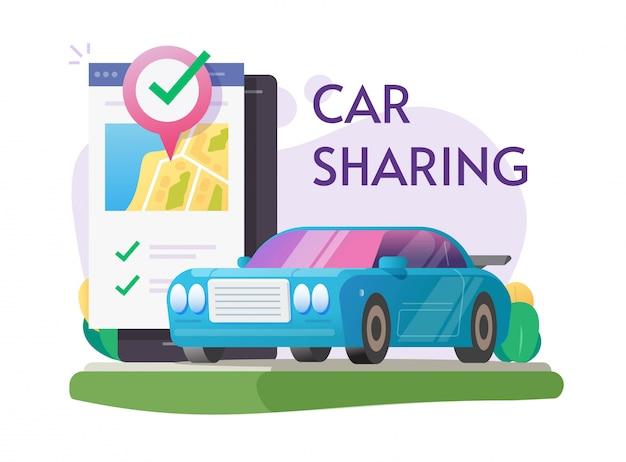 Carsharing-vermietung über handy-service online oder carsharing-club für autovermietung mit smartphone stadtplan pin zeiger auto standort illustration