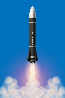 Cartoon-abbildung rakete start isolierten satz. weltraummissionsraketen mit rauch. illustration im 3d-stil