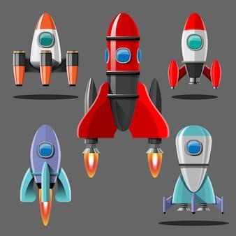 Cartoon-abbildung rakete start isolierten satz. weltraummissionsraketen mit rauch