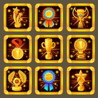 Cartoon achievement game screen set