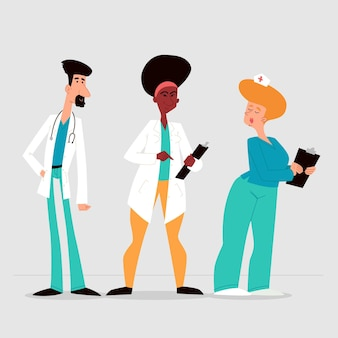 Cartoon ärzte und krankenschwestern gruppe