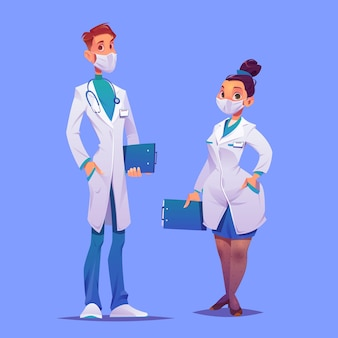 Cartoon ärzte und krankenschwestern mit masken