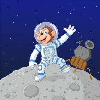 Cartoon affe astronaut auf dem mond