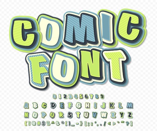 Cartoon-alphabet im comic- und pop-art-stil. grün-blauer guss von buchstaben und zahlen für dekorationscomics-buchseite