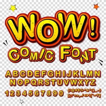 Cartoon-alphabet im comic- und pop-art-stil. lustiger gelber guss von buchstaben und zahlen für dekorationscomics-buchseite