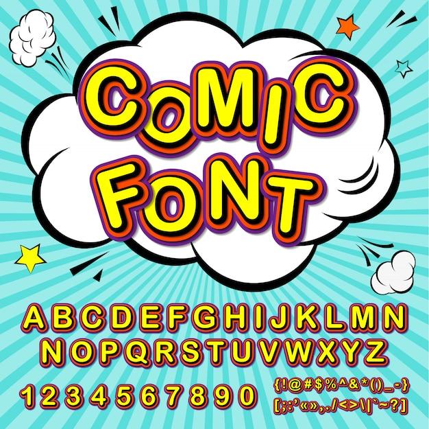 Cartoon-alphabet im comic- und pop-art-stil. lustiger guss von buchstaben und zahlen für dekorationscomics-buchseite