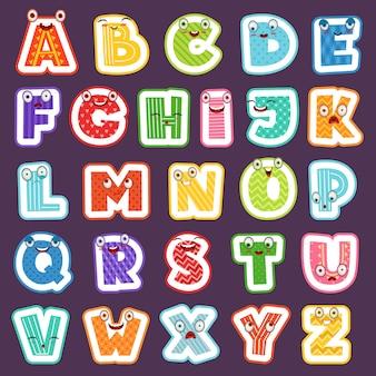 Cartoon alphabet mit emotionen. farbige süße schriftzeichen buchstaben symbole zeichen und zahlen alphabet für kinder