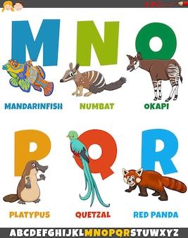 Cartoon-alphabet mit lustigen tierfiguren