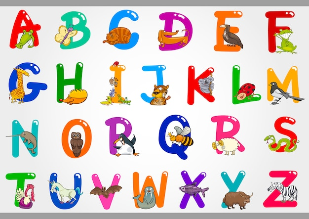 Cartoon alphabet mit tieren illustrationen