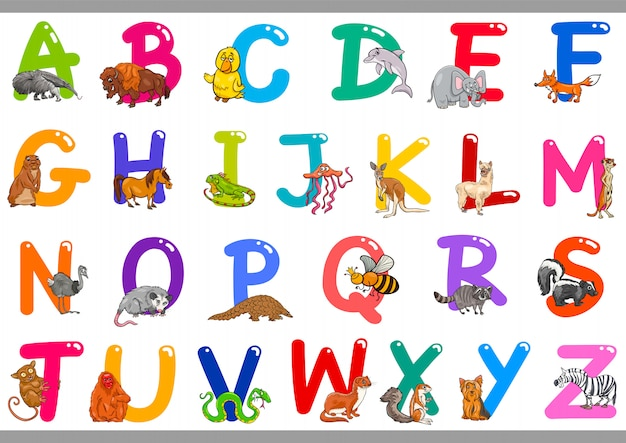 Cartoon-alphabet mit tierfiguren