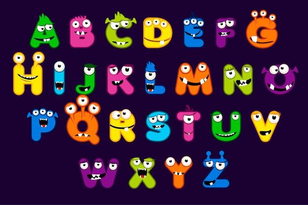 Cartoon-alphabet-schriftart im monster-stil. lustiges monsterbuchstaben-set, stock-schrift für ihr design und ui-spiel,