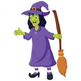 Cartoon alte hexe mit einem besen