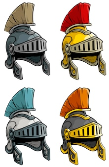 Cartoon alten römischen soldaten helm set
