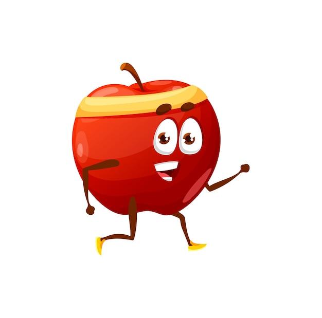 Cartoon apple joggen oder laufen isolierte glückliche cartoon-figur. vektor-sommerobst-hobby-sportaktivität, gesunde apfel-aktive lebensweise, fitness, sport, reisen, freizeit. vitamintraining