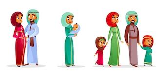 Cartoon arabische Familie Zeichen gesetzt. Glückliches saudi, emirates moslemische Paare, Mann, Frau