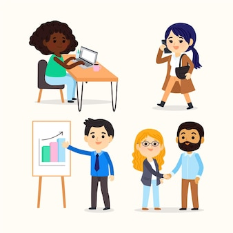 Cartoon-arbeitstagszenen eingestellt