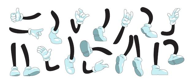 Cartoon-arme und -beine. maskottchen-doodle-hände in weißen handschuhen, die gesten und füße in stiefeln zeigen, die beim laufen und stehen treten. comic-sammlung der vektorillustrationsskizze