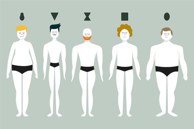 Cartoon arten von männlichen körperformen gesetzt