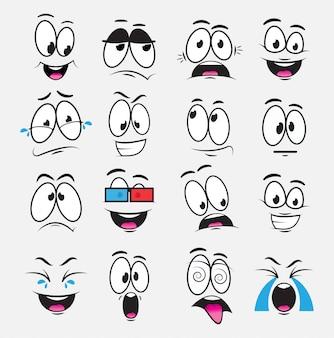 Cartoon augen mit ausdruck und emotionen, eine reihe von ikonen, freude, traurigkeit, lachen, träumerei, angst, einen film sehen, weinen. illustration mit lustigen karikaturaugen
