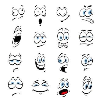 Cartoon augen mit gesichtsausdrücken und emotionen. nettes lächeln emoticons. vektor-emoji-elemente lächelnd, glücklich, traurig, wütend, verrückt, dumm, schockiert, komisch, verärgert, albern ängstlich hinterhältig überrascht