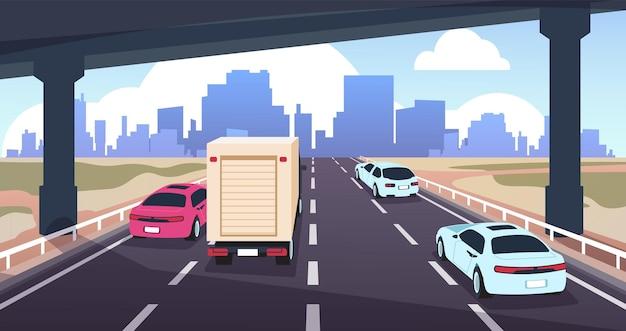 Cartoon-autobahnverkehr. straße in die stadt mit autos, naturlandschaft und skyline, reise- und logistikkonzept. vektor-illustrationen panoramablick silhouette moderne szene urbane wolkenkratzer