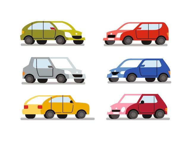 Cartoon autos farbsatz. auto fahrzeug flacher stil.