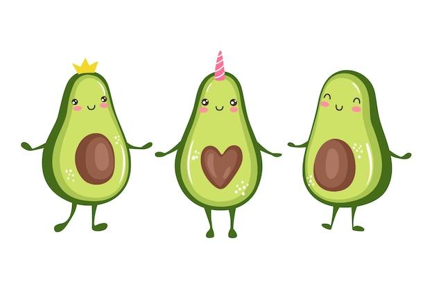 Cartoon avocado charaktere niedliche prinzessin, einhorn. lustige fruchtsammlung lokalisiert auf weißem hintergrund. kawaii illustration.