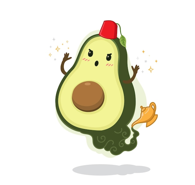 Cartoon avocado ginie