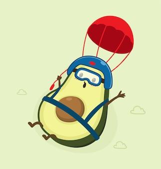 Cartoon-avocado mit fallschirm