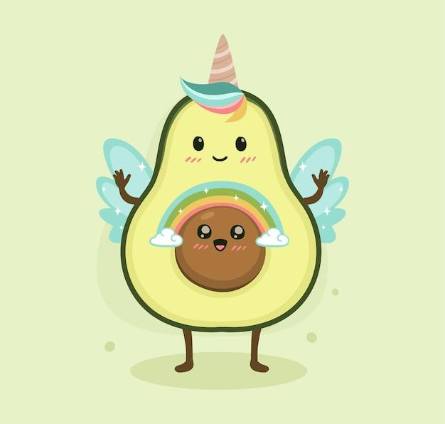 Cartoon avocado niedlichen einhorn