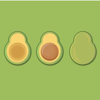 Cartoon avocado set