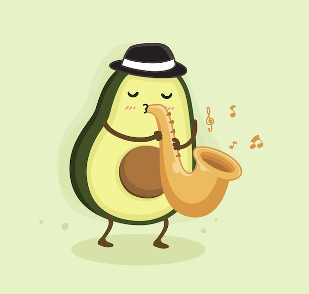 Cartoon avocado spielt saxophon