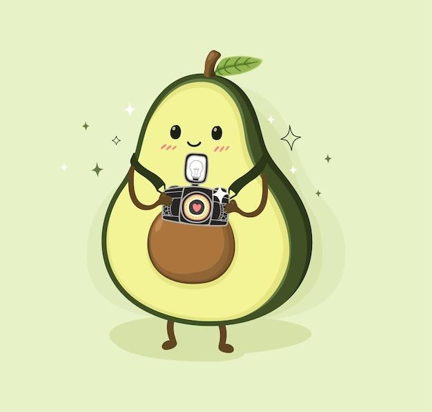 Cartoon avocado und kamera