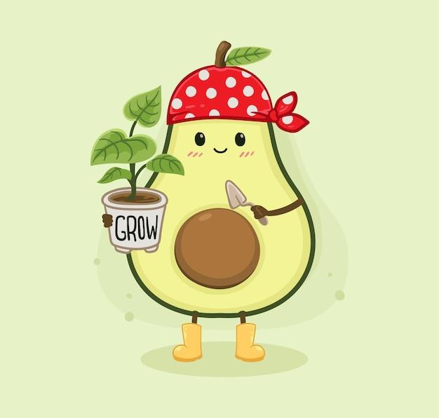 Cartoon avocado und pflanze
