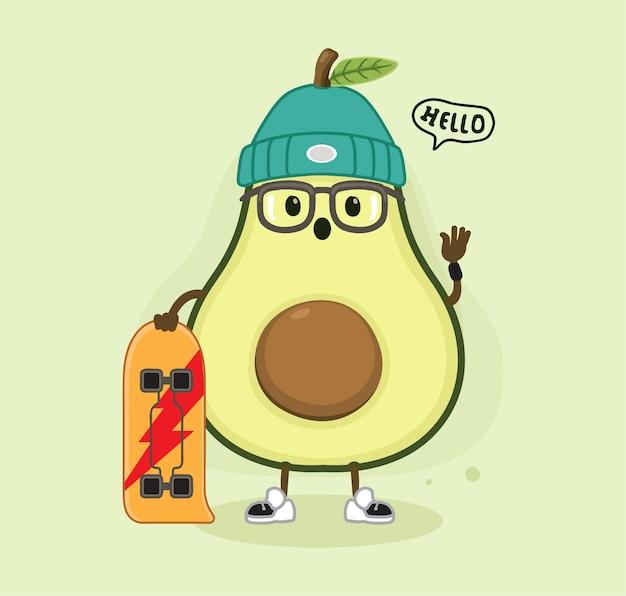 Cartoon avocado und skateboard