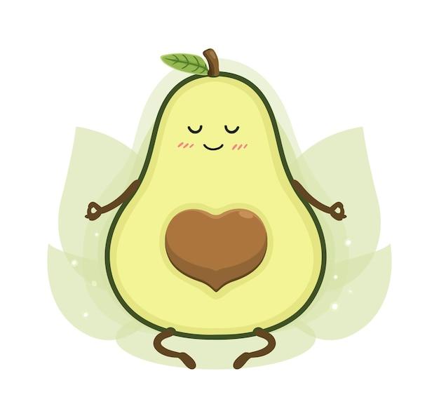 Cartoon avocado yoga
