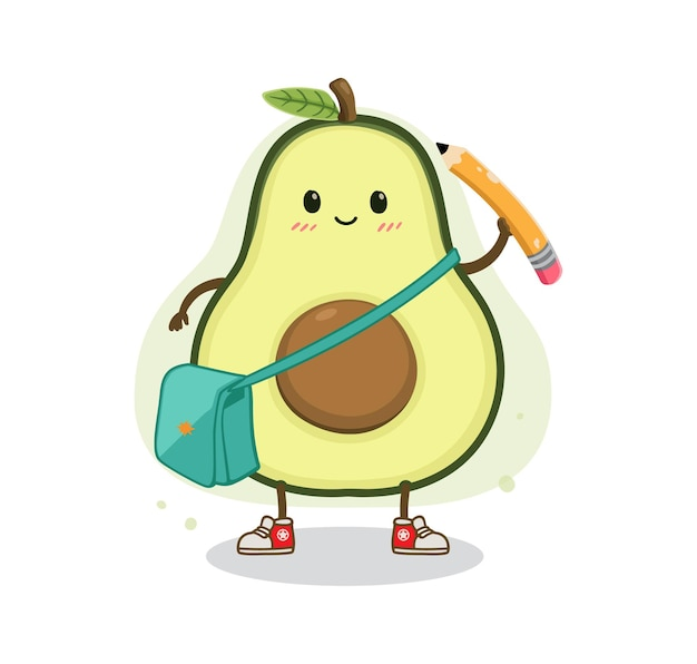 Cartoon avocado zurück in die schule