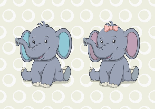 Cartoon baby elefant junge und mädchen