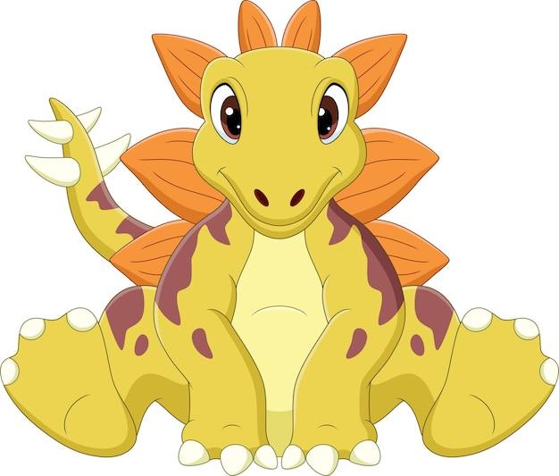 Cartoon baby stegosaurus dinosaurier sitzen