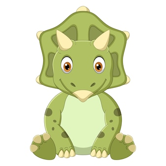 Cartoon baby triceratops dinosaurier sitzen